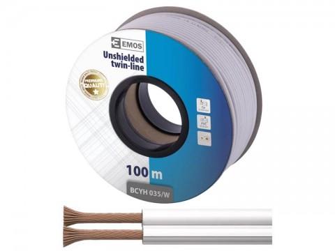 Dvojlinka netienená 2x0,15mm biela, 100m