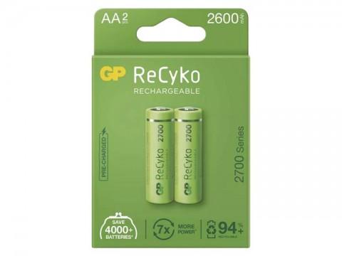 Batérie AA (R6) nabíjacie 1,2V/2600mAh GP Recyko  2ks
