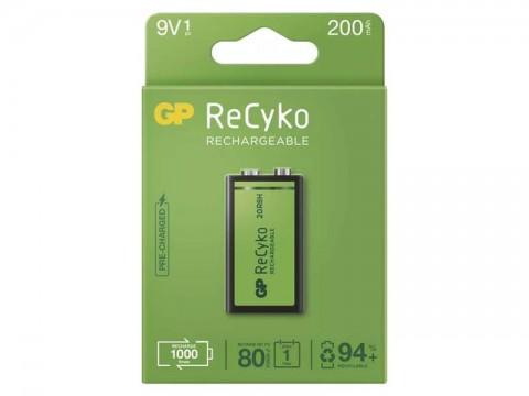 Batéria 6F22 nabíjecí 9V/200mAh GP Recyko