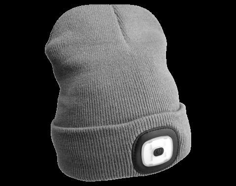 Čepice s čelovkou 45lm, nabíjecí, USB, univerzální velikost, světle šedá SIXTOL