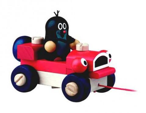 Detské ťahacie auto s Krtkom DETOA drevené 14 cm
