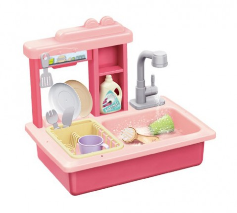 Detský drez na umývanie riadu TEDDIES s kohútikom na vodu ružový