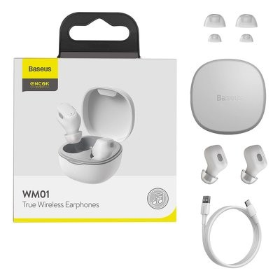 Slúchadlá Bluetooth BASEUS TWS WM01 biela
