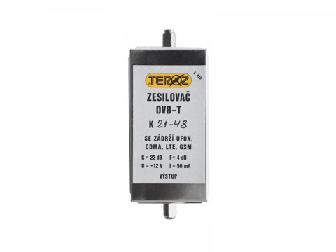 Anténny zosilňovač TEROZ 428x k.21 až k.48 s filtrom 5G+LTE+GSM+UFON+CDMA, F-F