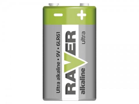 Batérie 6F22 (9V) alkalická RAVER