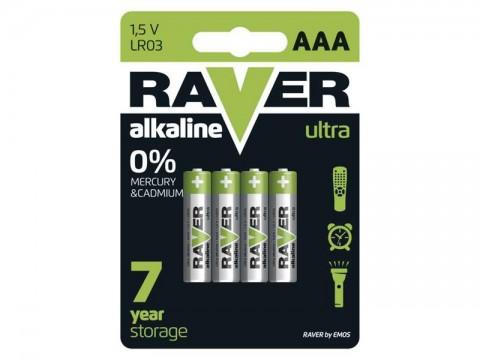 Batérie AAA (R03) alkalická RAVER  4ks