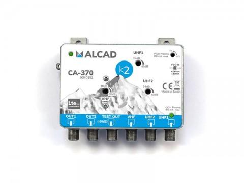 Anténny zosilňovač ALCAD CA370, malý domový, 1 x (VHF I, FM, DAB) G18 až 28dB, 2 x UHF G38dB