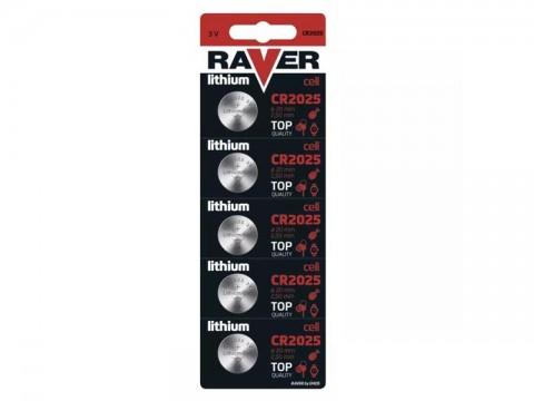 Batérie CR2025 RAVER lítiová  5ks