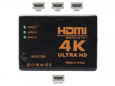 Prepínač 3x HDMI - 1x HDMI HADEX UH-301