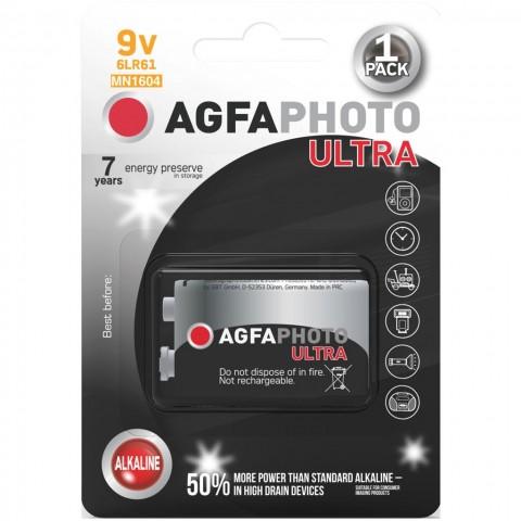 AgfaPhoto Ultra alkalická batéria 9V, blister 1ks