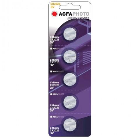 AgfaPhoto gombíková lithiová batéria CR2025, blister 5ks