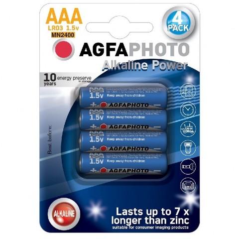 AgfaPhoto Power alkalická batéria LR03/AAA, blister 4ks