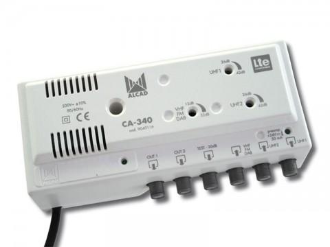 Anténny zosilňovač ALCAD CA-340, 2xUHF+1xFM/VHF BIII, 2x výstup, filter 5G, domový