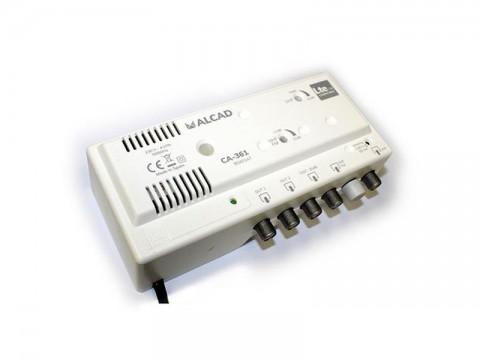 Anténny zosilňovač ALCAD CA-361, 1xUHF+1xFM/VHF BIII, 2x výstup, filter 5G, domový