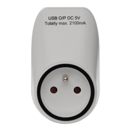 Zásuvka priebežná s 2x USB EMOS P0071