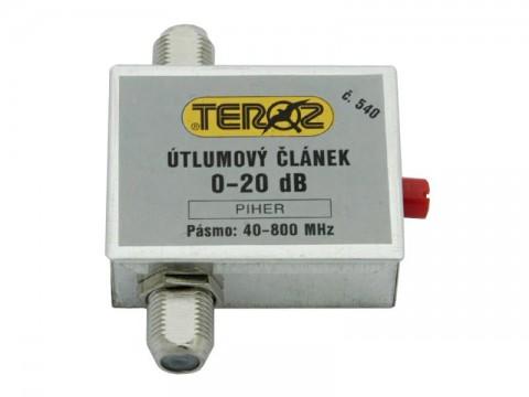 Anténny útlmový článok TEROZ č.540 s reguláciou 0-20 dB pre UHF pásmo, F konektor