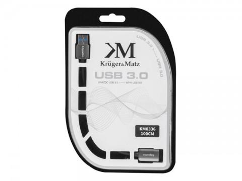 Kábel KRUGER & MATZ KM0336 1x USB 3.0 A konektor - 1x USB 3.0 A zdierka 1m