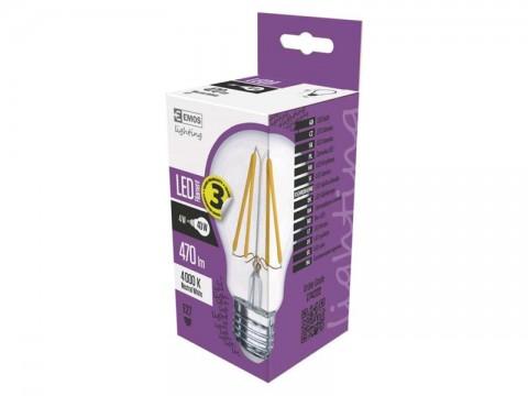 Žiarovka LED E27 4W A60 biela prírodná EMOS Z74222