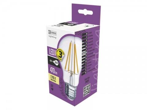 Žiarovka LED E27  4W A60 biela teplá EMOS Z74221